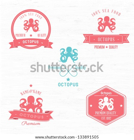 Vintage Octopus Badge set | Editable EPS vector illustration - stock vector
