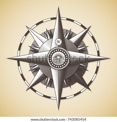 Vintage Old Antique Nautical Compass Rose Vector Sign Label Emblem