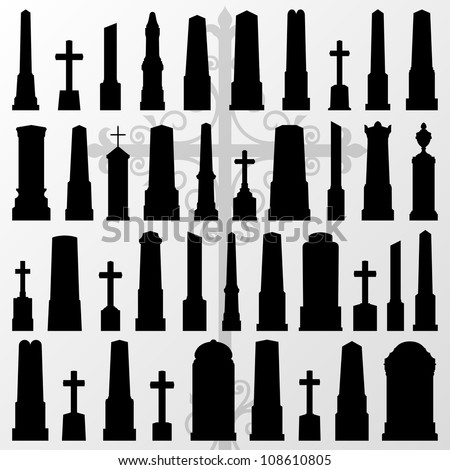 Vintage old cemetery crosses and gravestones detailed silhouettes illustration collection background vector - stock vector