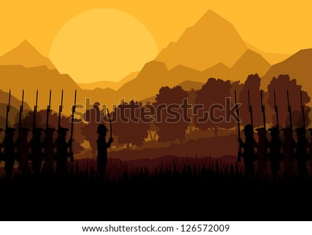 Vintage old civil war battle field warfare soldier troops and artillery cannon guns in forest mountain landscape illustration background vector - stock vector