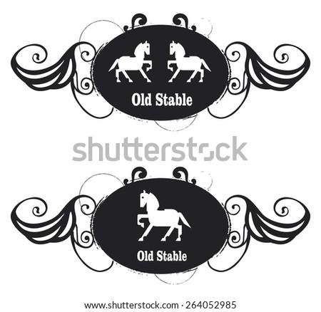 vintage old equestrian shield with horse and stable tribute with tribal and stencil grunge style - stock vector