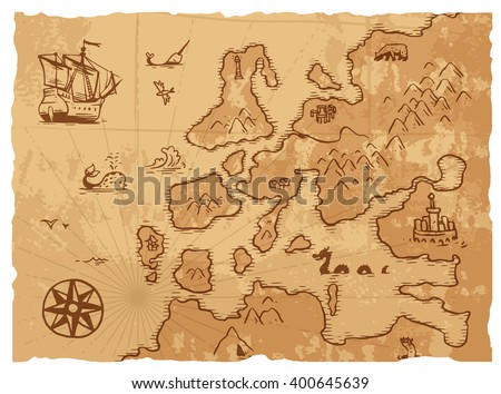 Vintage old map antique and retro vintage paper old map. Vintage old map world navigation art parchment manuscript. Old vintage retro ancient map antique history geography background vector - stock vector