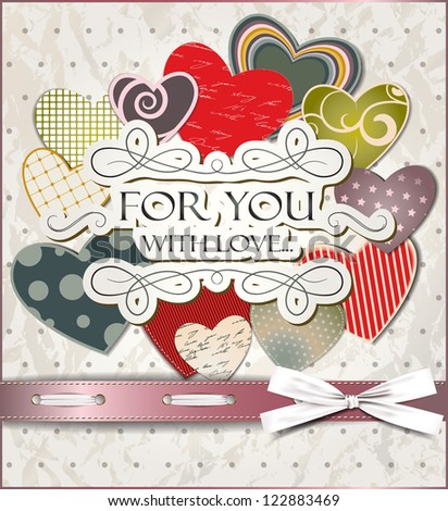 Vintage old paper card with hearts and silk ribbon - stock vector
