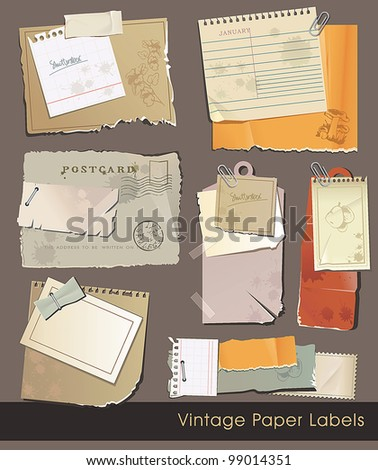 Vintage old paper sales tags and labels on white background. Beautiful vector illustration. - stock vector