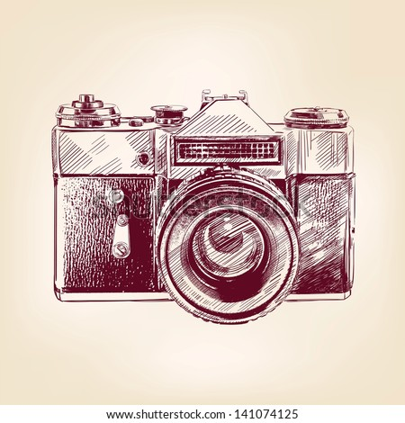 vintage old photo camera drawn vector llustration - stock vector