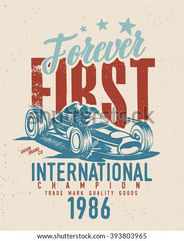 vintage old race car printing / old race car / first / world championships - stock vector
