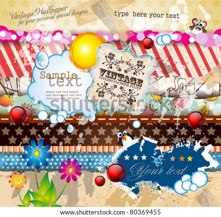 Vintage old style scrapbook paper with a lot of different old style design elements and textures with place for your text and images - stock vector