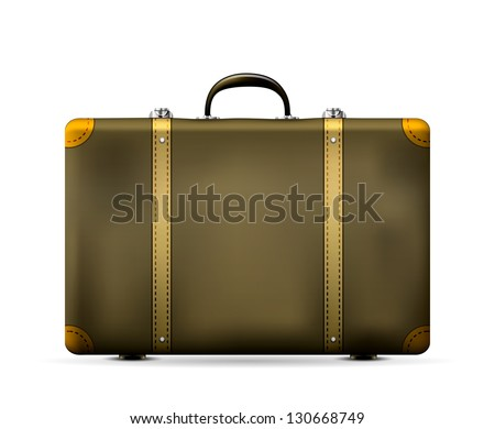 Vintage Old Travel Suitcase isolated on white. Vector Illustration - stock vector
