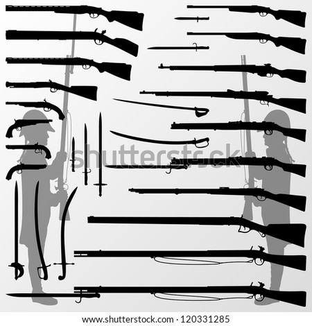 Vintage old war and hunting weapons, rifles, guns, swords, knifes, blades and soldiers detailed silhouettes illustration collection background vector - stock vector