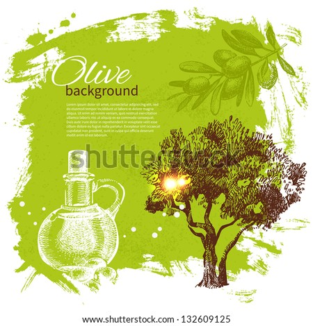 Vintage olive background. Hand drawn illustration - stock vector
