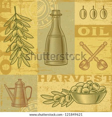 Vintage olive harvest background. Vector - stock vector