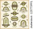 Vintage olive labels set. Editable EPS10 vector illustration. - stock photo