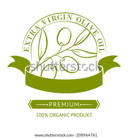 Vintage olive oil label for your design. Vector illustration. - stock vector