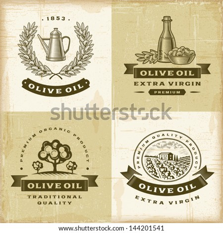 Vintage olive oil labels set. Fully editable EPS10 vector. - stock vector