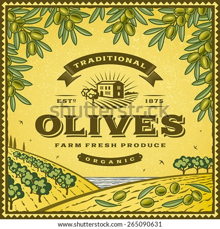 Vintage olives label. Editable EPS10 vector illustration with clipping mask and transparency. - stock vector