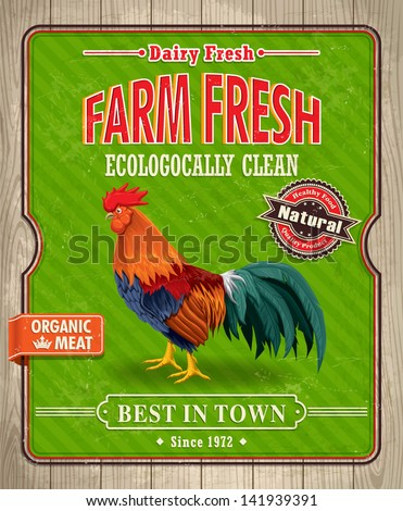 Vintage organic farm fresh rooster poster design - stock vector