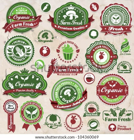 Vintage organic label set template - stock vector