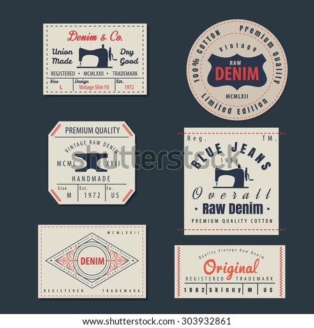vintage original blue jeans raw denim labels,genuine exclusive brands,vector illustration - stock vector