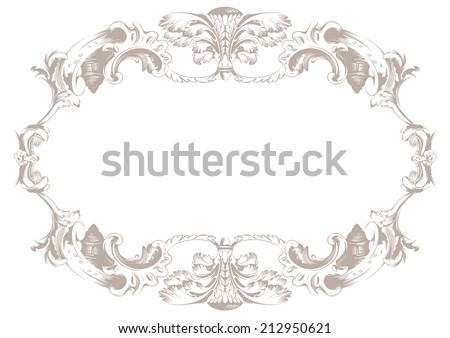Vintage ornament background. Vector decor oval vignette - stock vector