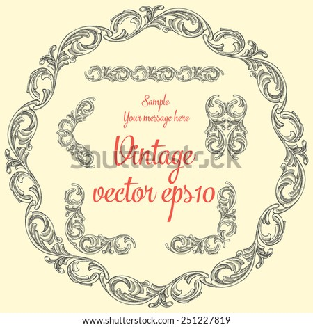 Vintage ornament for decoration invitations, flyers, brochures, postcards, greetings set of elements,vector hand drawing. - stock vector