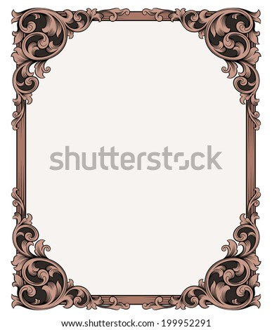 Vintage ornament frame antique style vector design - stock vector