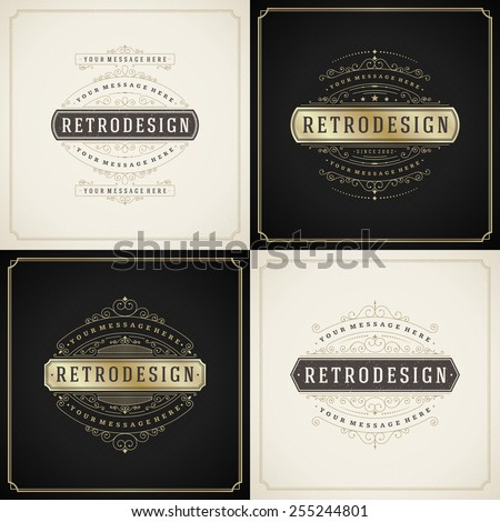 Vintage ornament golden and grunge style, border frame decoration, flourishes calligraphic ornamental swirls for greeting cards, labels, invitations, posters, badges. Vector background. - stock vector