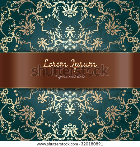 Vintage ornament golden style, border frame decoration, flourishes calligraphic ornamental swirls for greeting cards, luxury postcards, invitations, posters, badges. Vector background. - stock vector