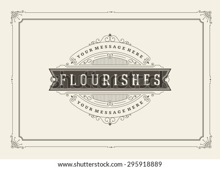 Vintage ornament greeting card vector template. Retro wedding invitations, advertising or other design and place for text. Flourishes frame. - stock vector