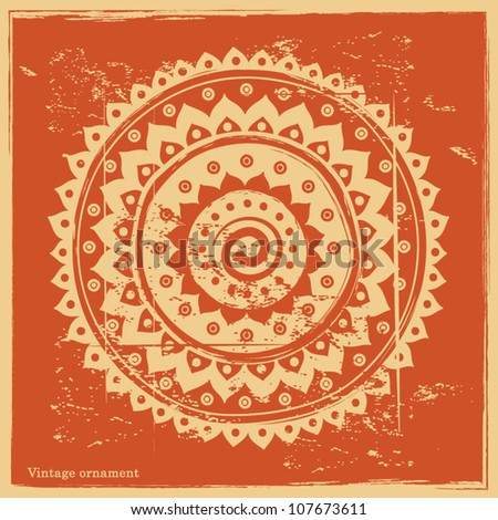 Vintage ornament on the orange background - stock vector