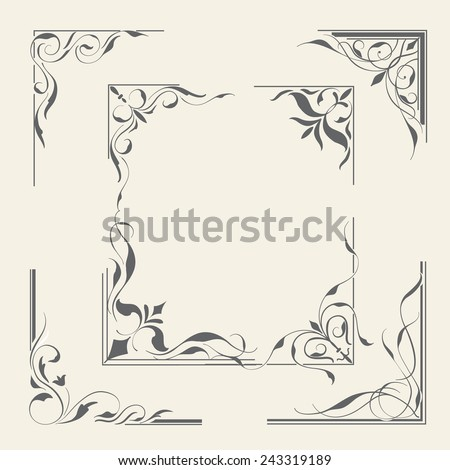 vintage ornament set design for page decoration,vector illustration - stock vector