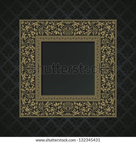 Vintage ornamental frame on floral damask background, modern style - stock vector