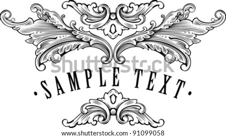vintage ornamental frame template for your title - stock vector