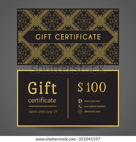 Vintage ornamental gift certificate vector editable stock for Gift certificate template with logo