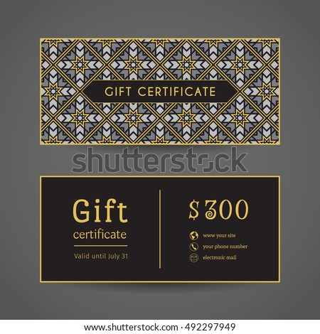 Vintage ornamental gift certificate. Vector editable template include front and back side