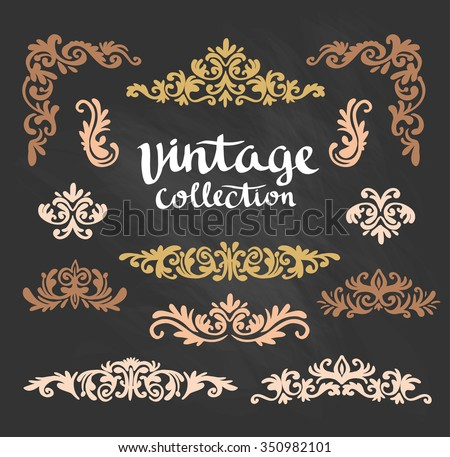 Vintage Ornamental Gold Calligraphic Designs Set on the chalkboard. Vector illustration - stock vector