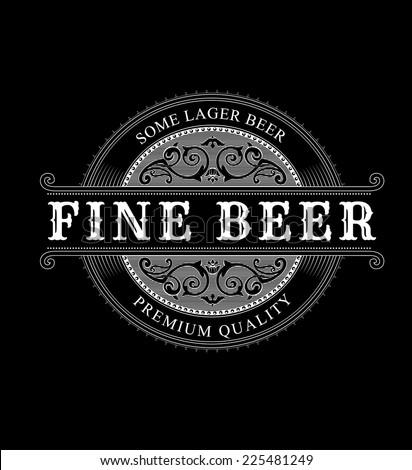 Vintage Ornamental Logo. Beer Label Vector. - stock vector