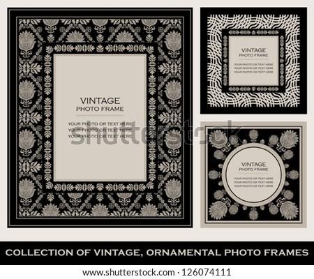Vintage, ornamental photo frames, elegant floral ornaments, baroque black patterns, antique ornate style, luxury cards - stock vector