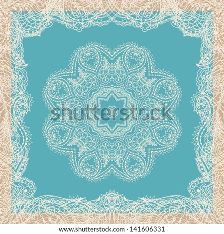 Vintage ornamental round lace pattern. Vector illustration for your design. Flower round lace wallpape; lacy arabesque designs. - stock vector