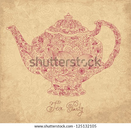 Vintage ornamental teapot with retro background - stock vector