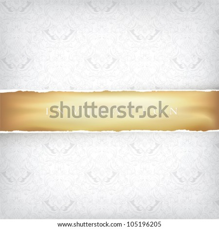Vintage Ornamented Background with Golden Ribbon. Vector, EPS10 - stock vector