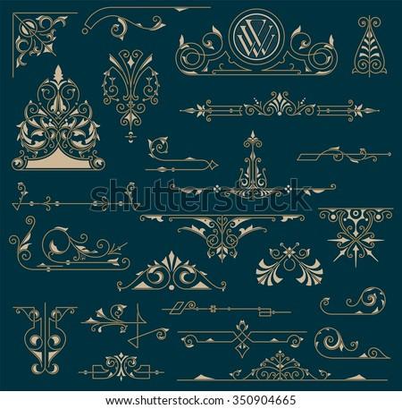 Vintage Ornaments Decorations Design Elements  - stock vector
