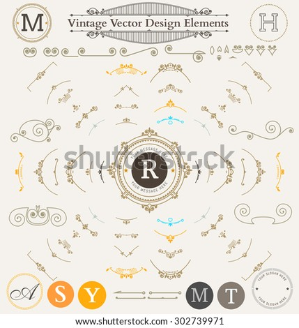 Vintage  Ornaments Decorations Design Elements. Flourishes calligraphic combinations retro design for Invitations, Posters, Badges, Logotypes. - stock vector