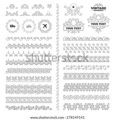 Vintage ornaments. Flourishes calligraphic. Cargo truck and shipping icons. Shipping and Eco bicycle delivery signs. Transport symbols. 24h service. Invitations elements. Vector - stock vector