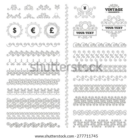 Vintage ornaments. Flourishes calligraphic. Dollar, Euro, Pound and Yen currency icons. USD, EUR, GBP and JPY money sign symbols. Invitations elements. Vector - stock vector