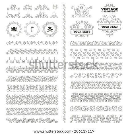 Vintage ornaments. Flourishes calligraphic. Plate dish with forks and knifes icons. Chief hat sign. Crosswise cutlery symbol. Dessert fork. Invitations elements. Vector - stock vector