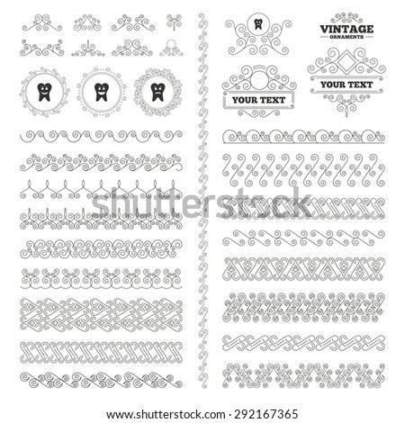 Vintage ornaments. Flourishes calligraphic. Tooth happy, sad and crying faces icons. Dental care signs. Healthy or unhealthy teeth symbols. Invitations elements. Vector - stock vector