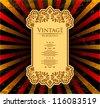 vintage ornate card design for greeting card, menu, cover, invitation. - stock vector