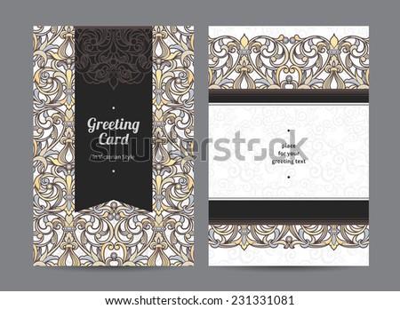 Vintage Ornate Cards In Victorian Style Black Outline Floral Decor Template Ornamental Frame For