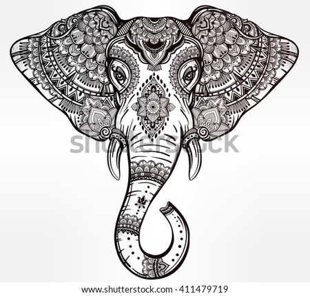 Vintage ornate vector ethnic elephant with tribal ornaments. Ideal ethnic background, tattoo art, yoga, African, Indian, Thai, spirituality, boho design. Use for print, posters, t-shirts and textiles. - stock vector