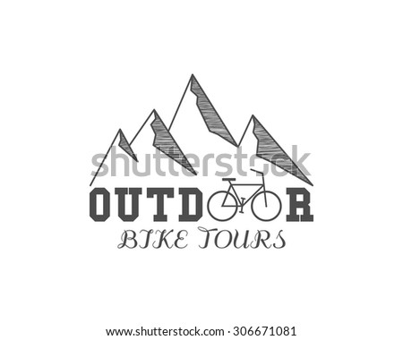 Vintage outdoor bike tours badge, outdoors logo, emblem and label. Mountain camp concept, monochrome design. Best for travel sites, web app, adventure magazines. Easy to change color. Vector. - stock vector
